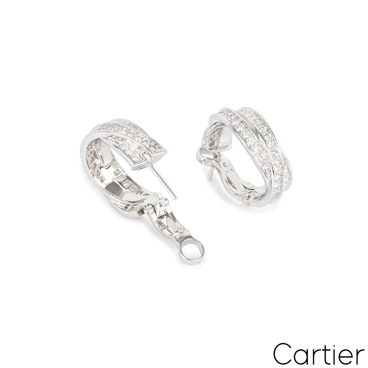 Cartier White Gold Diamond Trinity Earrings